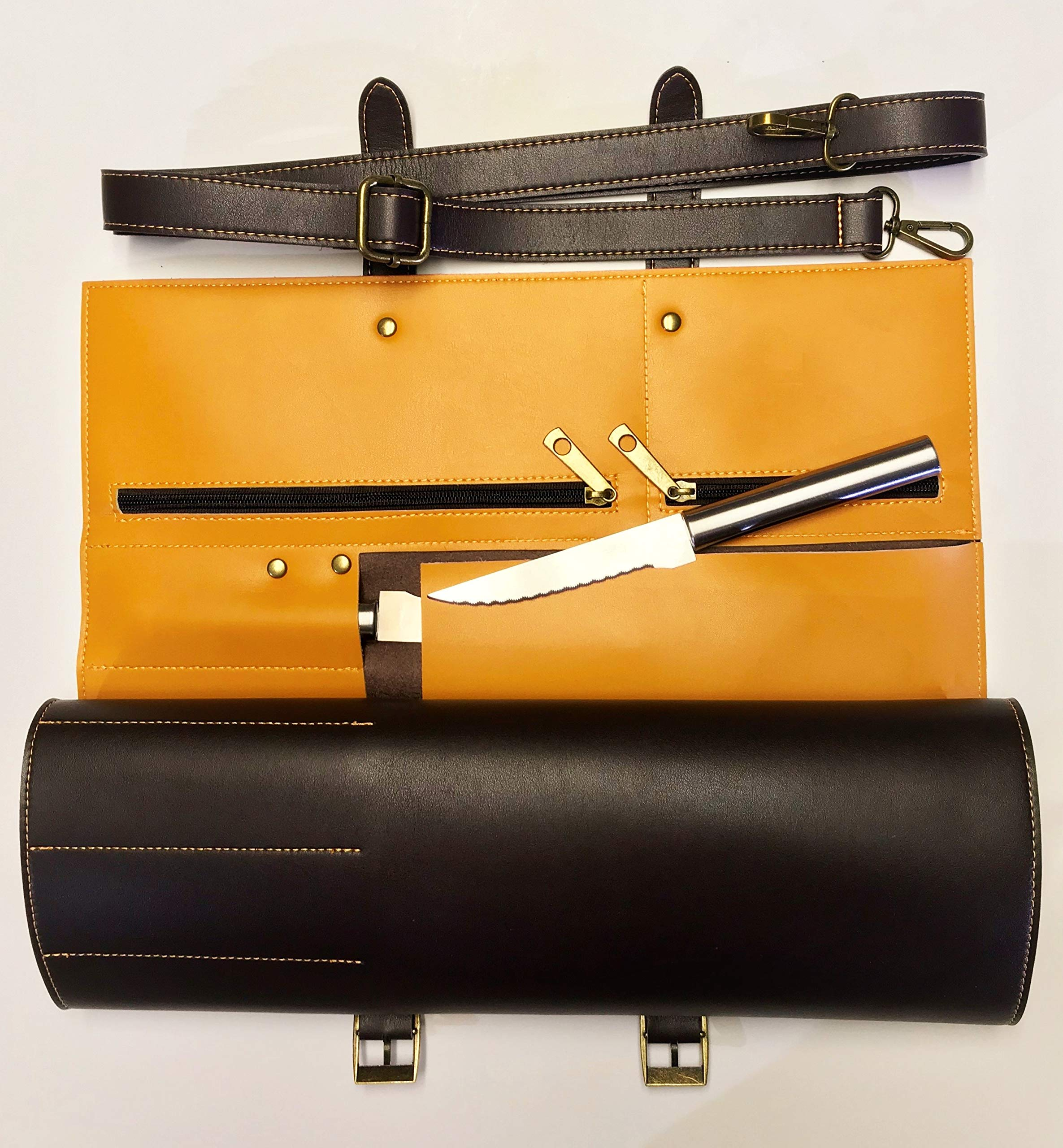 MiM Houston Chef Knife Bag | Large Chef Knife Roll Bag | Fine Leather | W/Business Card Slot | Dark Oak by MiM Houston (Image #4)