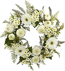 """Nearly Natural Mixed Daisies and Ranunculus Wreath, 24"""""""