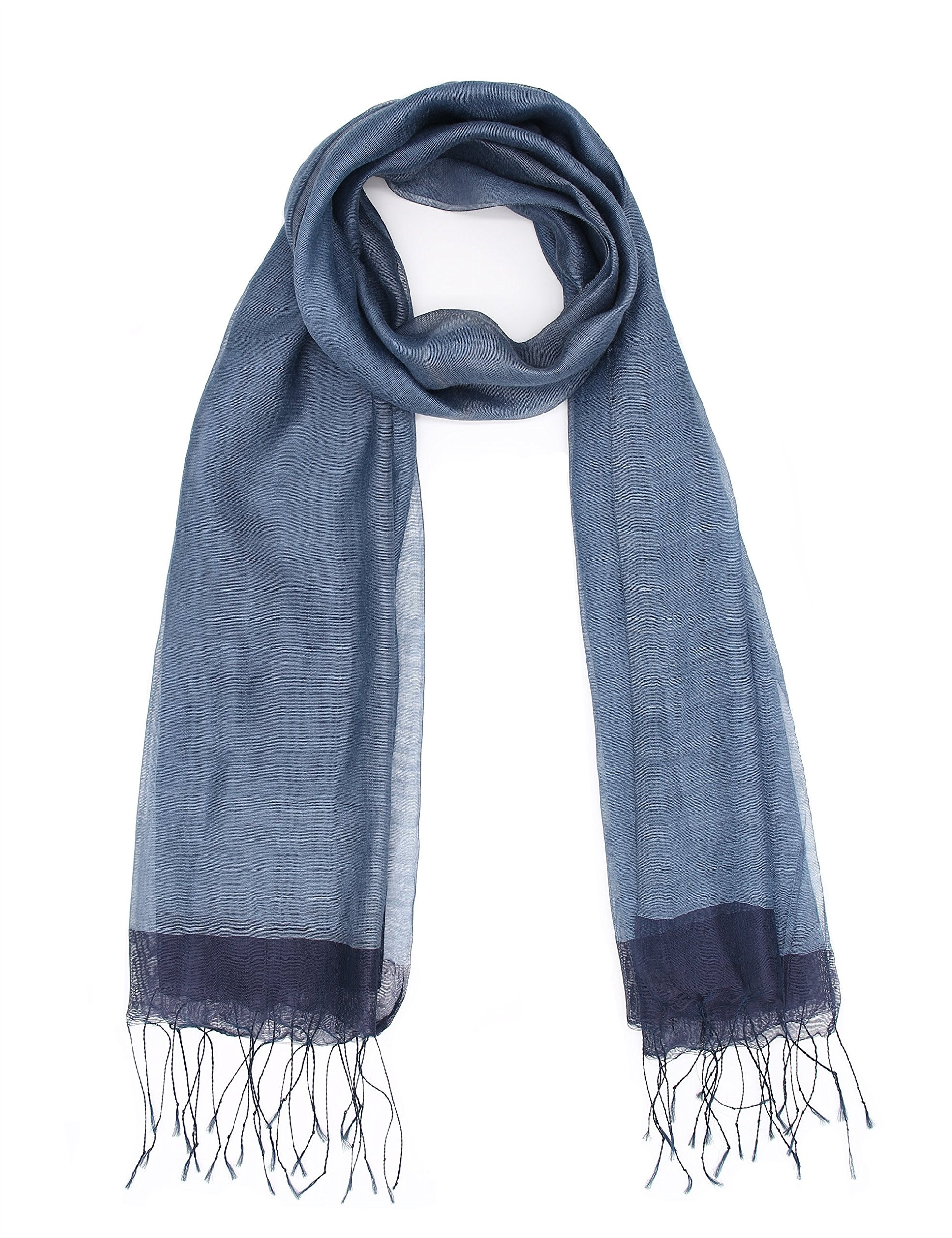 Navy Sheer Silk Scarf For Women Lager Shawl Wrap For Evening Dresses Soft Lightweight Sheer Voile Viscose Scarf With Fringes By J'Mysticon