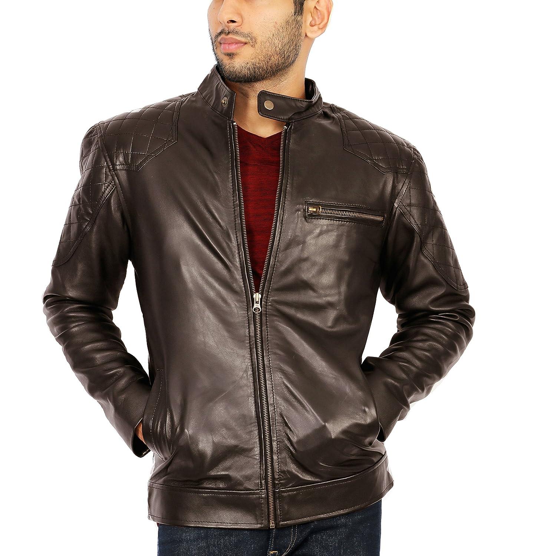 J Wilson London Designer Real Genuine Leather Mens Motorbike Lambskin Leather Biker Style Jacket Slim Fit Retro