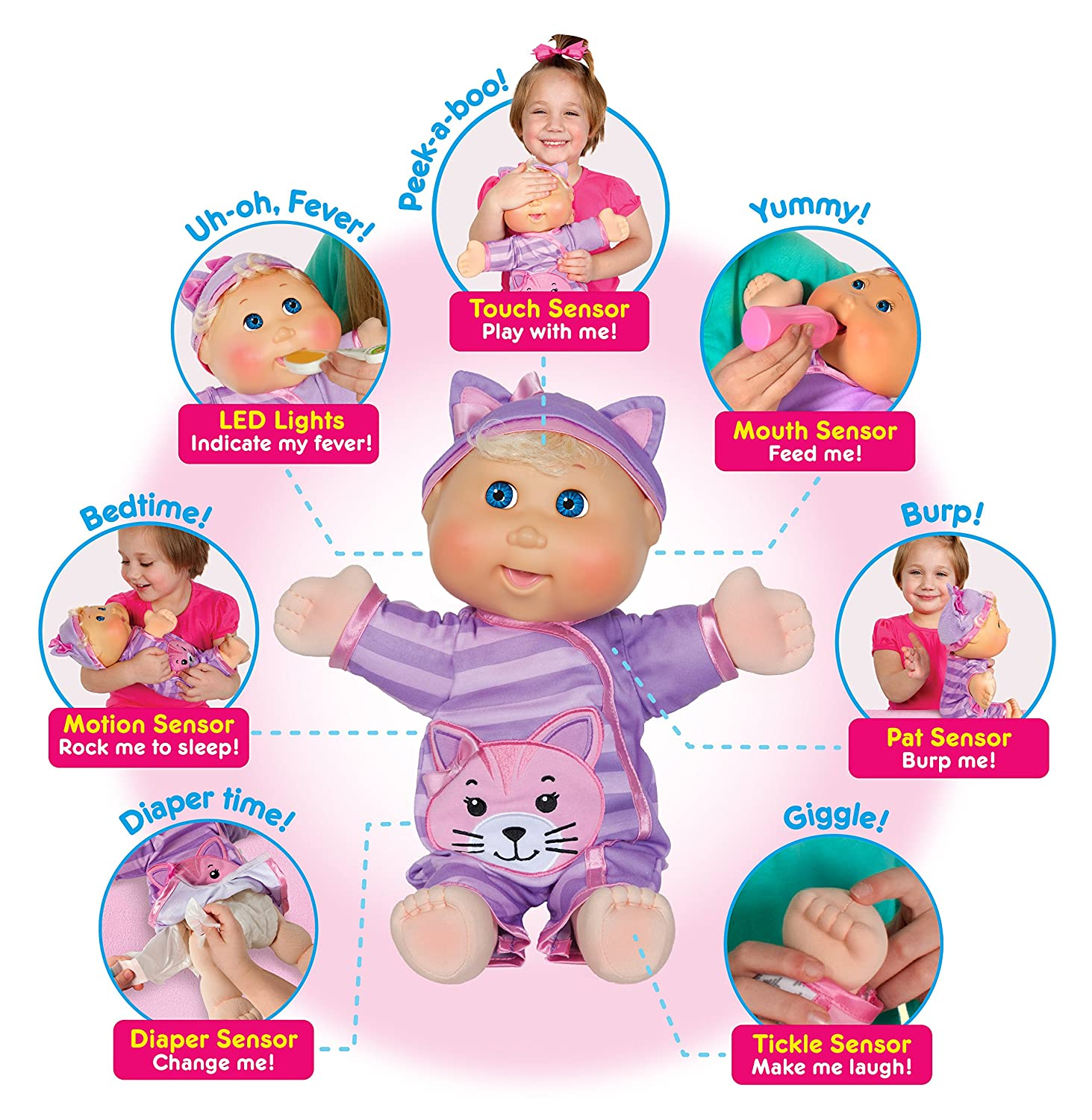 Cabbage patch kids baby so real, blonde girl interactive doll.