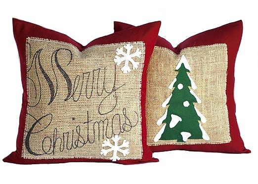1 Feliz Navidad árbol de Navidad y 1 fundas de almohada ...