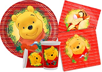 Ciao y4478 Kit Party Tabla Winnie the Pooh Navidad para 30 personas, multicolor: Amazon.es: Juguetes y juegos