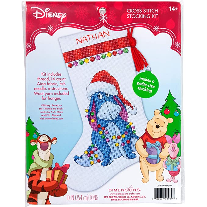 Disney Cross Stitch Christmas Stocking Patterns.Dimensions Eeyore Christmas Stocking Counted Cross Stitch Kit For Beginners 14 Count White Aida Cloth 10 L