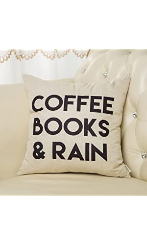 "Fjfz Coffee Books and Rain Motivational Inspirational Quote Cotton Linen Home Decorative Throw Pillow Case Cushion Cover with Words for Book Lover Worm Sofa Couch, 18"" x 18"""