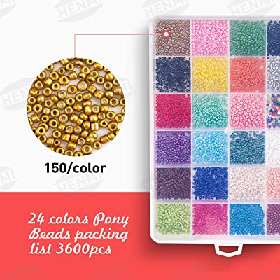 Crafty 24 Colors Kids Bead Kit Small Perler Beads for DIY Bracelets,Necklaces