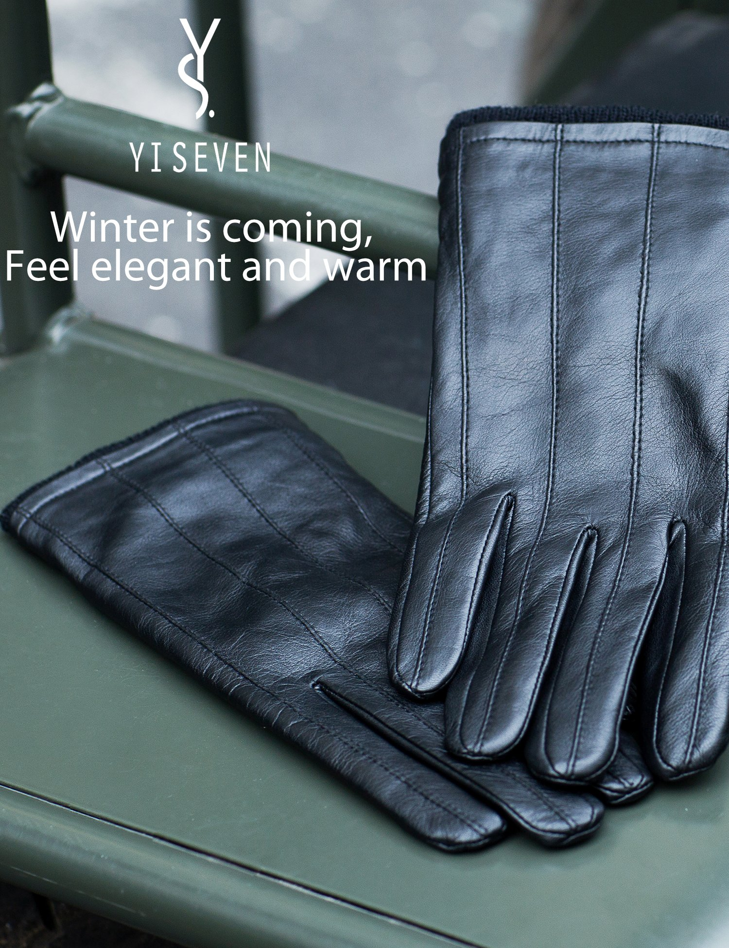 YISEVEN Men's Genuine Nappa Leather Lined Winter Gloves -Black/Touchscreen,Black,11'' by YISEVEN (Image #2)