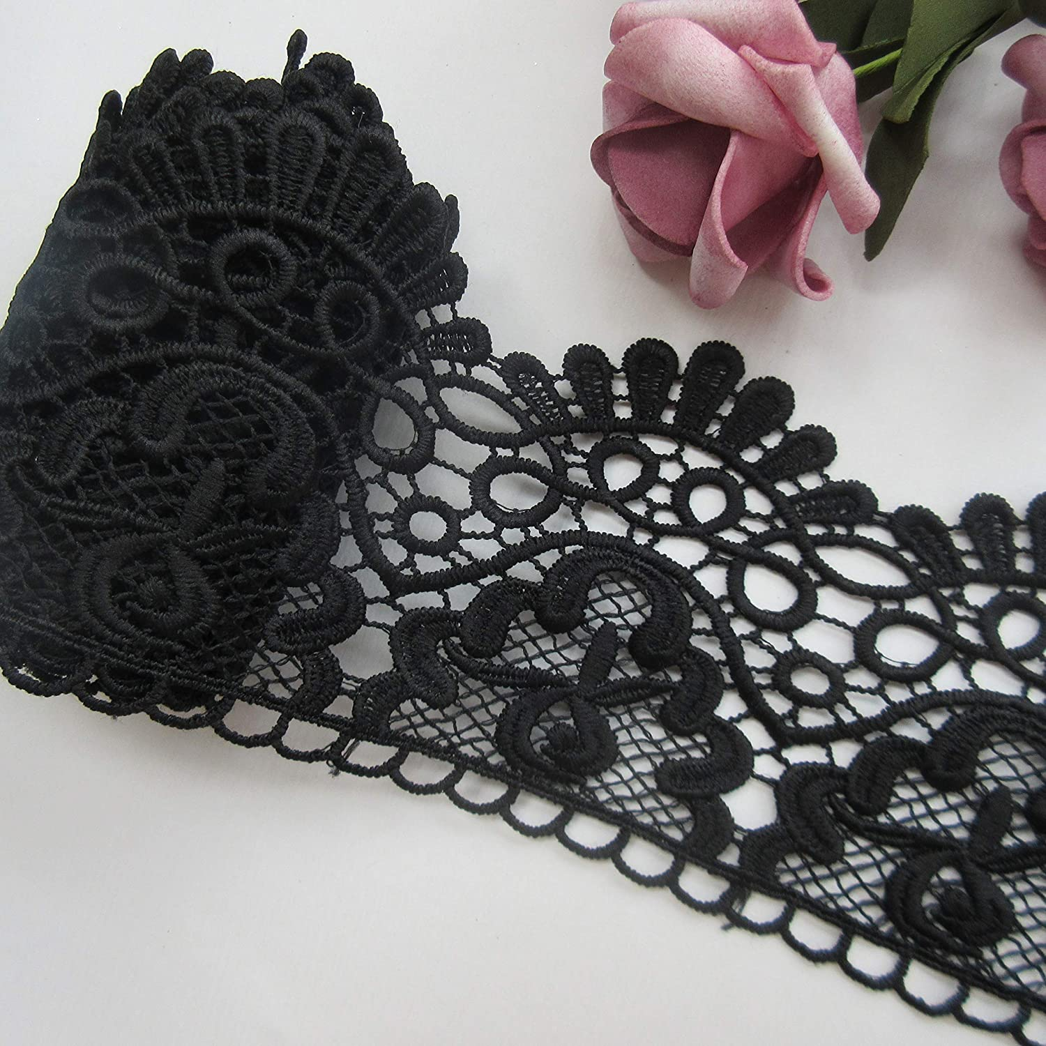 1 Yard Milk Fiber Europe Crown Pattern Floral Lace Edge Trim Ribbon 9cm Wide Vintage Style Black Edging Trimmings Fabric Embroidered Applique Sewing Craft Wedding Bridal Dress Embellishment DIY Decoration Clothes Embroidery Qiuda