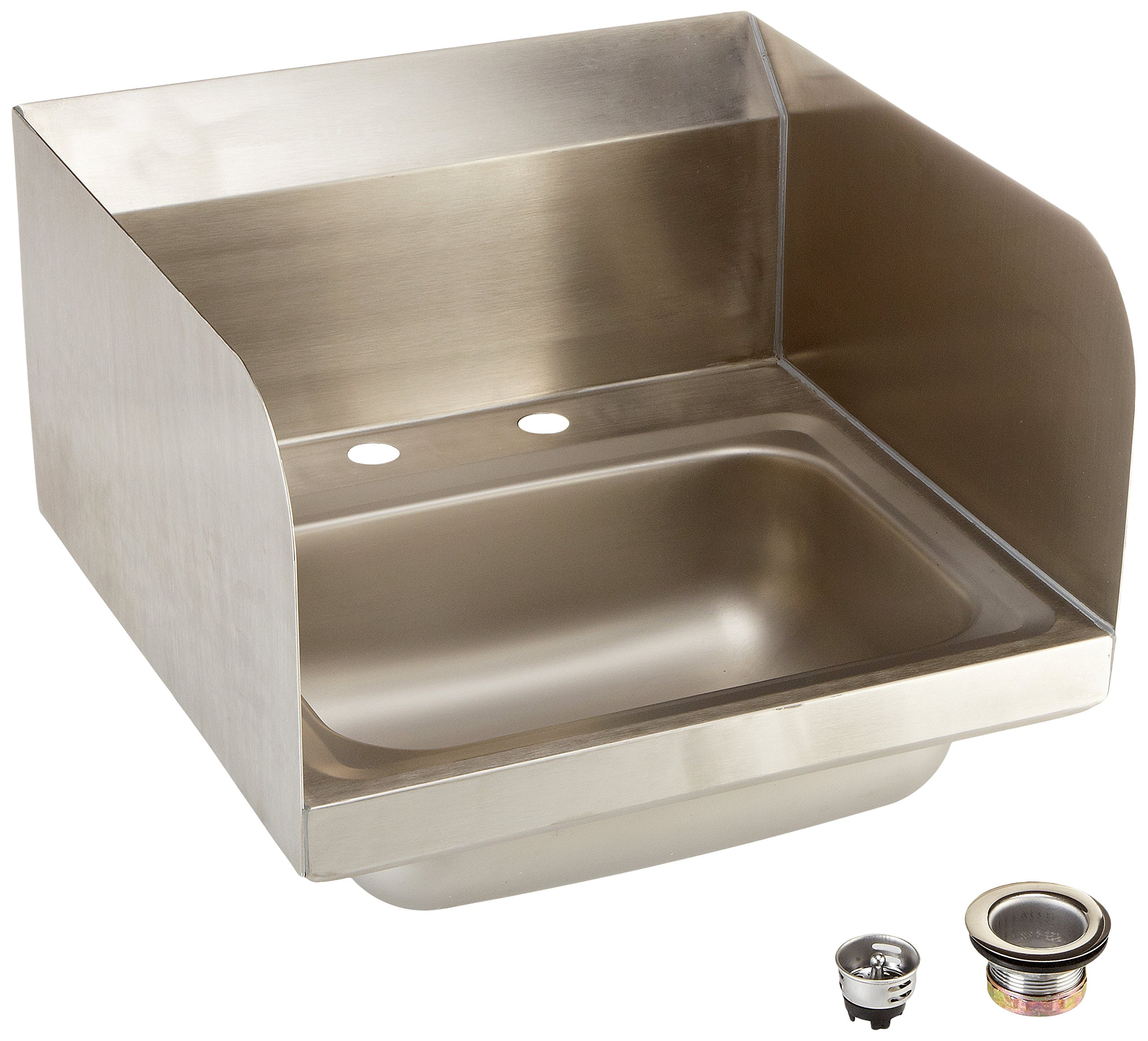 John Boos PBHS-W-1410-2DM-SSLR Stainless Steel 304 Pro-Bowl Hand Sink, 4'' On-Center Deck Mount Faucet Location, Left Hand and Right Hand Side Splash, Sink Size: 14'' Length x 10'' Width x 5'' Depth