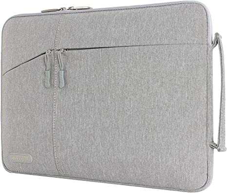 Gray MacBook Pro Notebook Computer Polyester Protective Sleeve Case Carrying Bag with Accessory Pockets MOSISO Laptop Briefcase Handbag Compatible 13-13.3 Inch MacBook Air