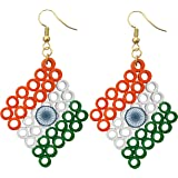 Designers Collection Tri Colour Paper and Metal Quilling Earrings for Women