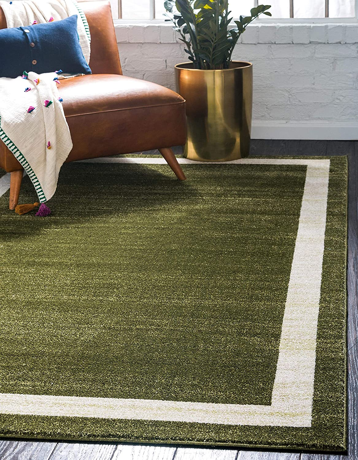 Unique Loom Del Mar Collection Contemporary Transitional Green Area Rug (5' 0 x 8' 0)