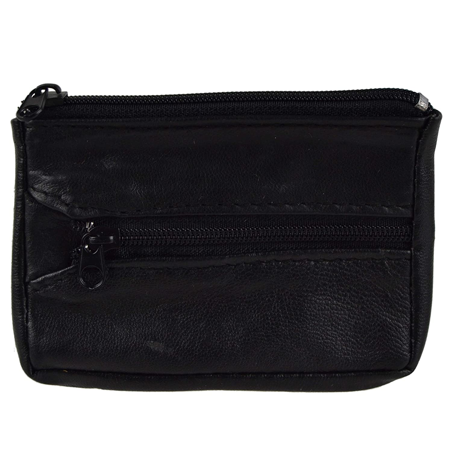 Mens Womens Soft Black LEATHER Key/Coin PURSE by Lorenz Change Chain Handy 1884