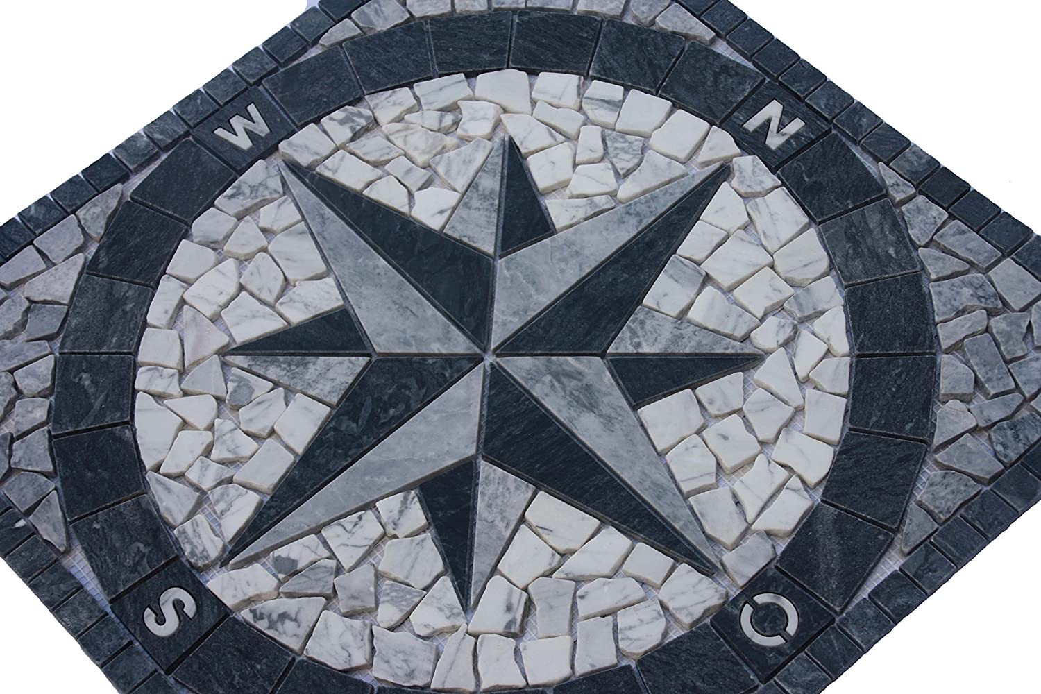 Marble mosaic square medallion tile 60x60 cm Compass Handmade in Europe Grey Elroni