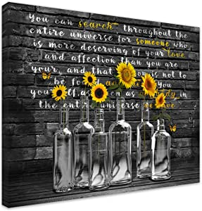 Inspirational Wall Art Sunflower Poster Prints Quote Motivational Wall Art Framed Inspirational Butterfly Pictures Office Wall Decor Artwork Art for Bathroom Living Room Bedroom (sunflower, 11x14inch)