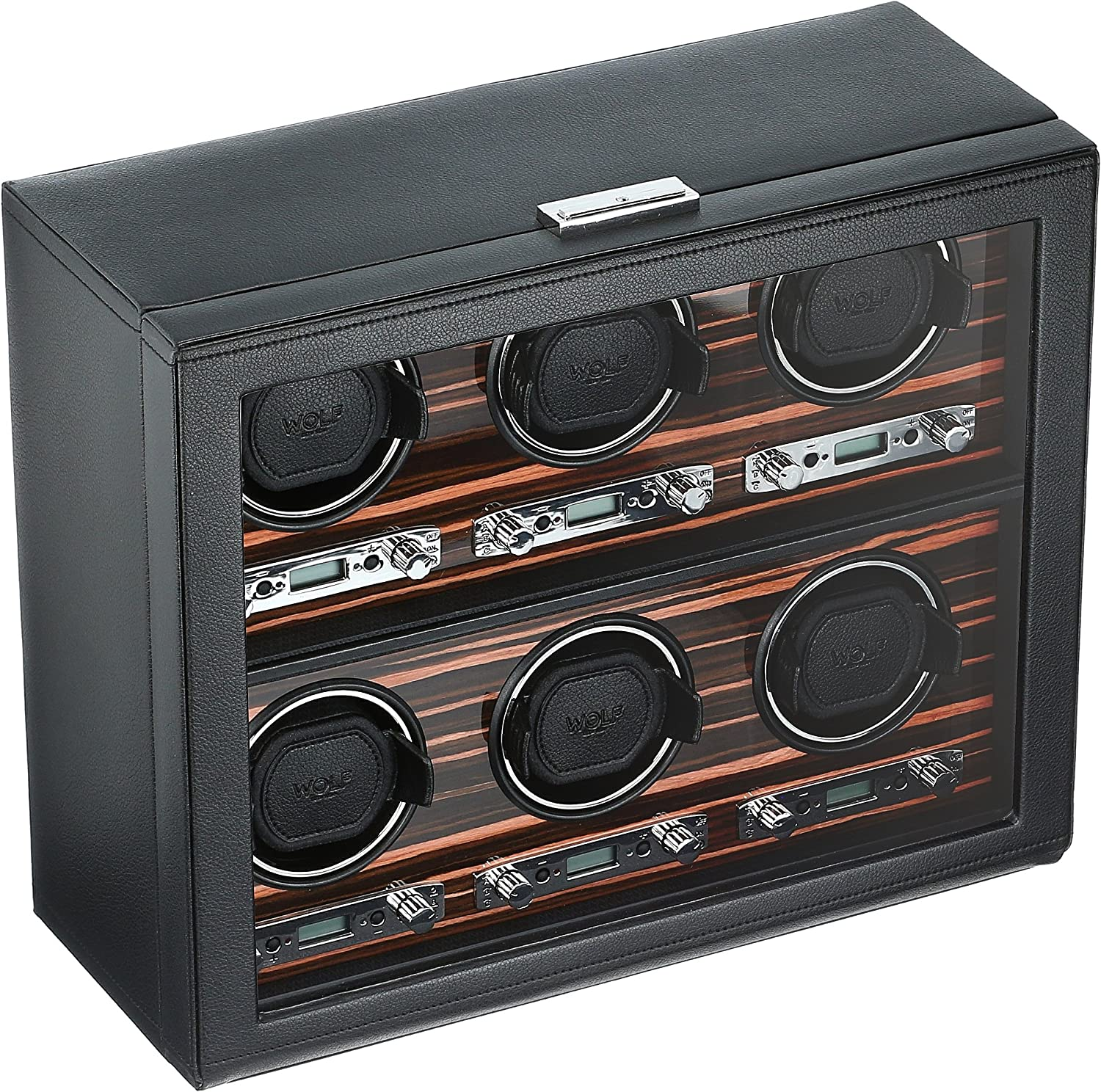 WOLF 459256 Roadster 6 Piece Watch Winder with Cover, Black: Watches