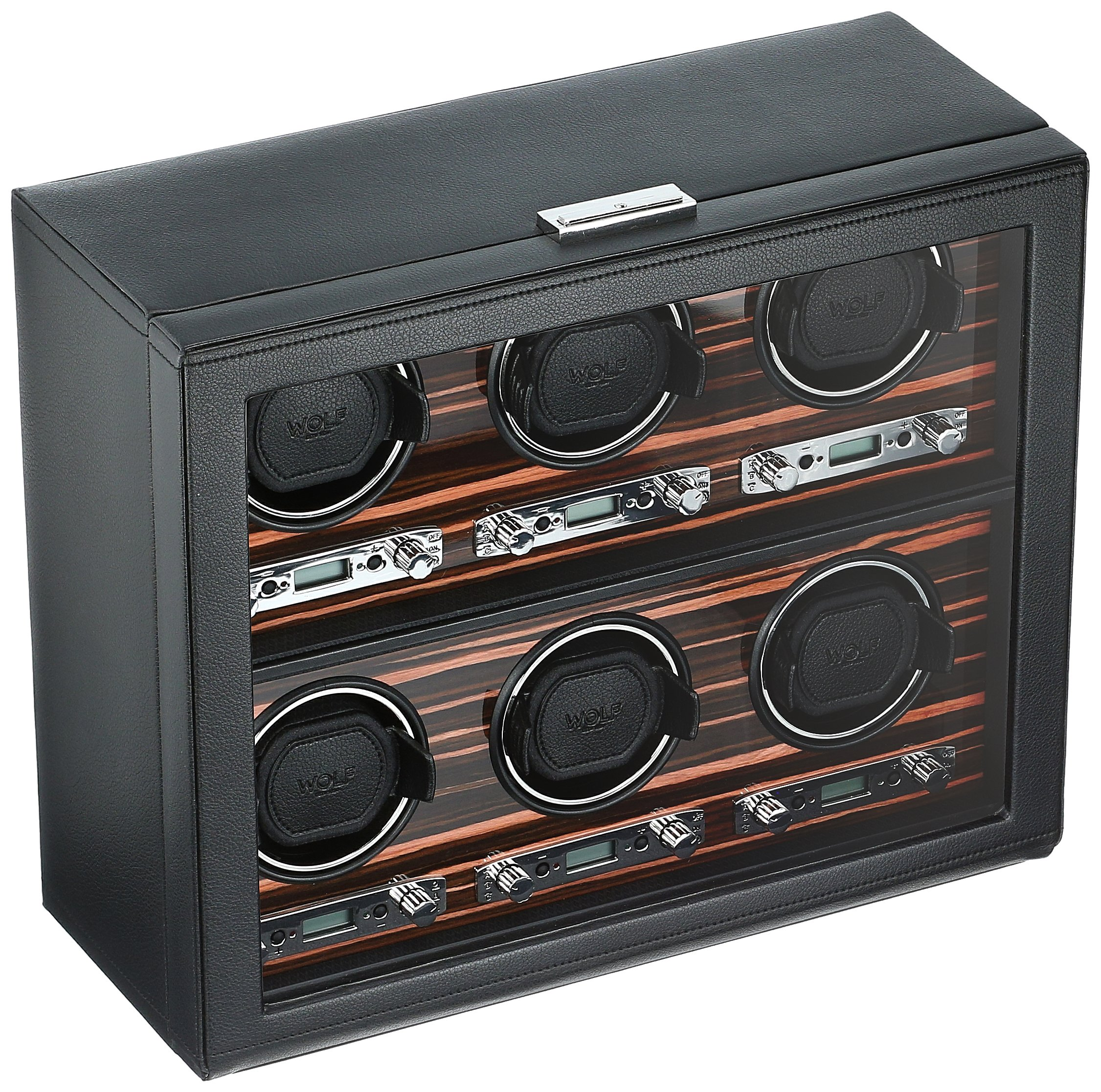 WOLF 459256 Roadster 6 Piece Watch Winder with Cover, Black by WOLF