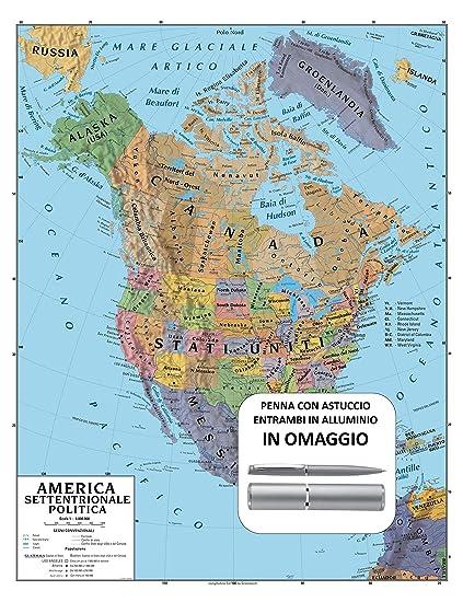 America Settentrionale Cartina.Carta Geografica Murale America Settentrionale 100x140