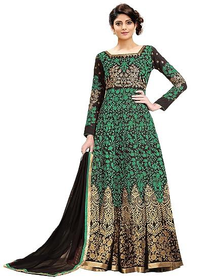3295369651e Siddeshwary Fab Women s Taffeta Silk Anarkali Gown Dress Material (Green  Free Size semi stitched)  Amazon.in  Clothing   Accessories
