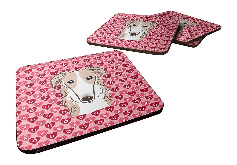 3.5 Multicolor Carolines Treasures Borzoi Hearts Foam Coaster Set of 4