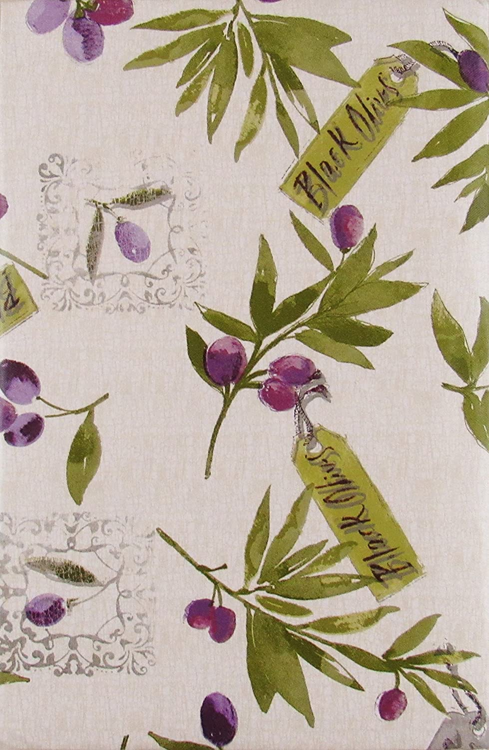 """Elrene Home Fashions Black and Green Olive Branches Vinyl Flannel Back Tablecloth (60"""" Round)"""