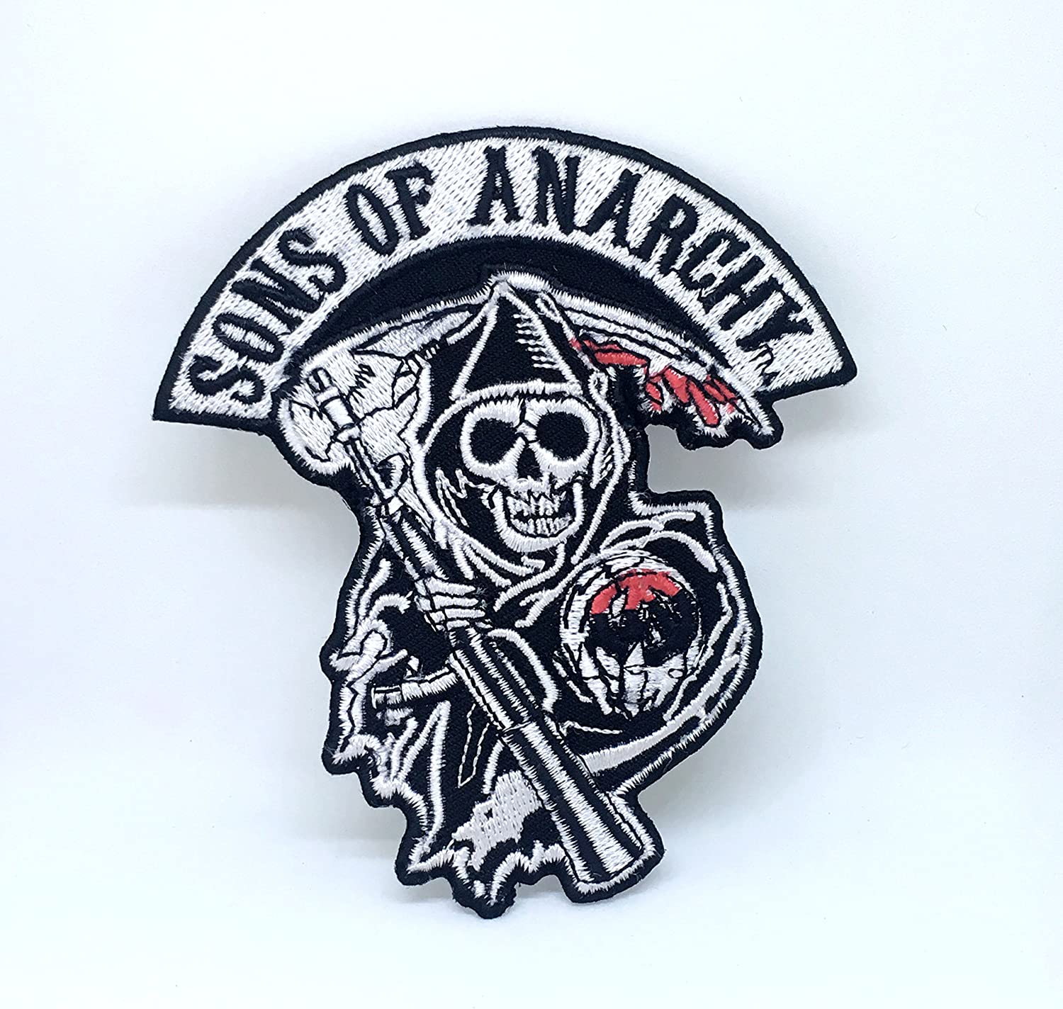 Skull Black Bikers Jacket Iron on Sew on Embroidered Patch UK Seller