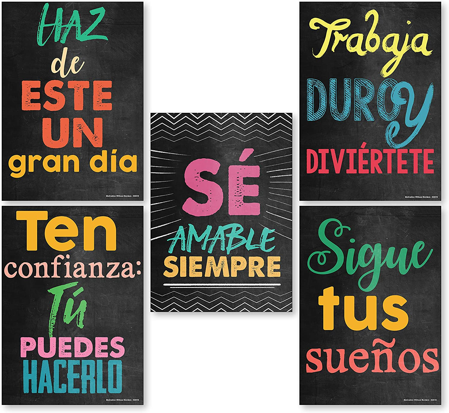 Spanish Classroom Decorations (Set of 5 Spanish Decor Posters) Motivational Spanish Posters for Classrooms (13x18 NON LAMINATED)
