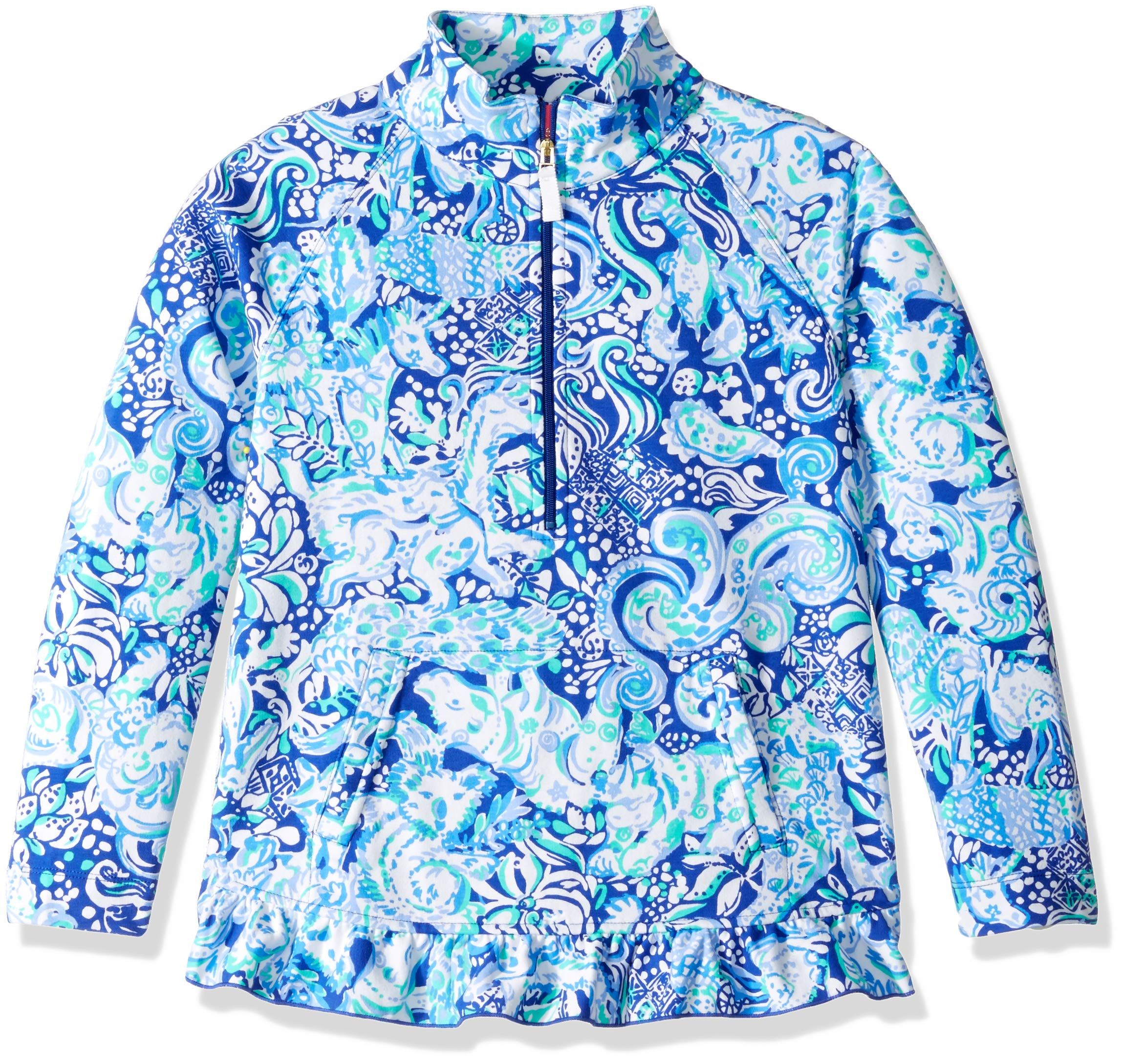 Lilly Pulitzer Girls' Little UPF 50+ Mini Killian Popover, Royal Purple Animals Green, M by Lilly Pulitzer (Image #1)