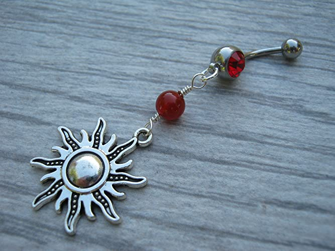 Sun Carnelian Belly Button Ring Ruby Red Barbell Ball Crystal Antiqued Silver Nature Body Piercing Jewelry