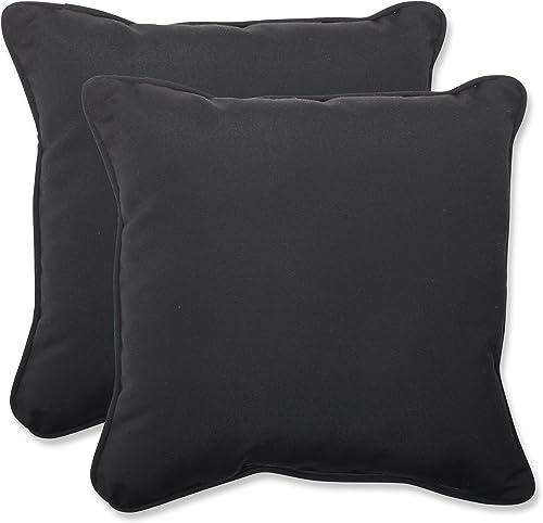 Pillow Perfect Outdoor Indoor Sunbrella Canvas Throw Pillows, 18.5 x 18.5 , Black, 2 Pack