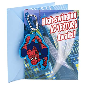 Amazon Hallmark Birthday Card For Boy Spider Man Backpack Clip Office Products