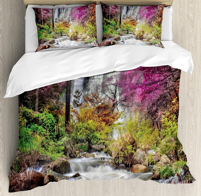 自然Waterfallインテリア布団カバーセットby Ambesonne、Waterfall InカラフルForest Bush Feigned Stream Trees Grass、装飾寝具セットwithピロー QUEEN/FULL nev_10152_queen B073Q883C8