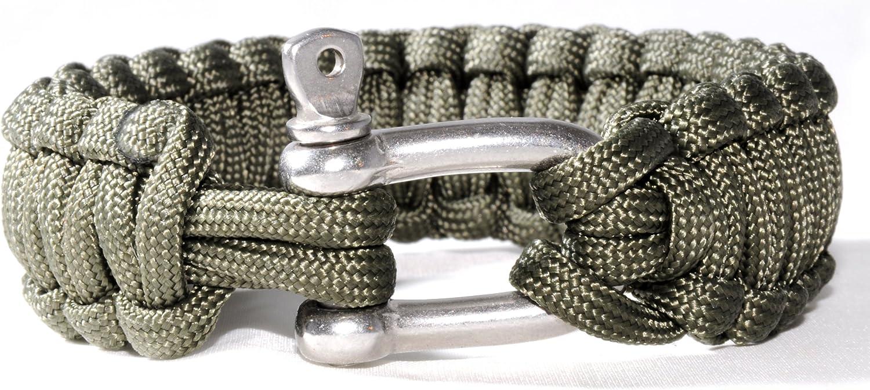 Ganzoo Paracord 550 Armband Nylon-Seil gr/ün Metall-Verschluss Survival /& Outdoor
