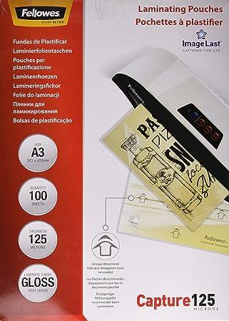 Fellowes 5307506 Pochettes De Plastification A3 125 Microns Par 100