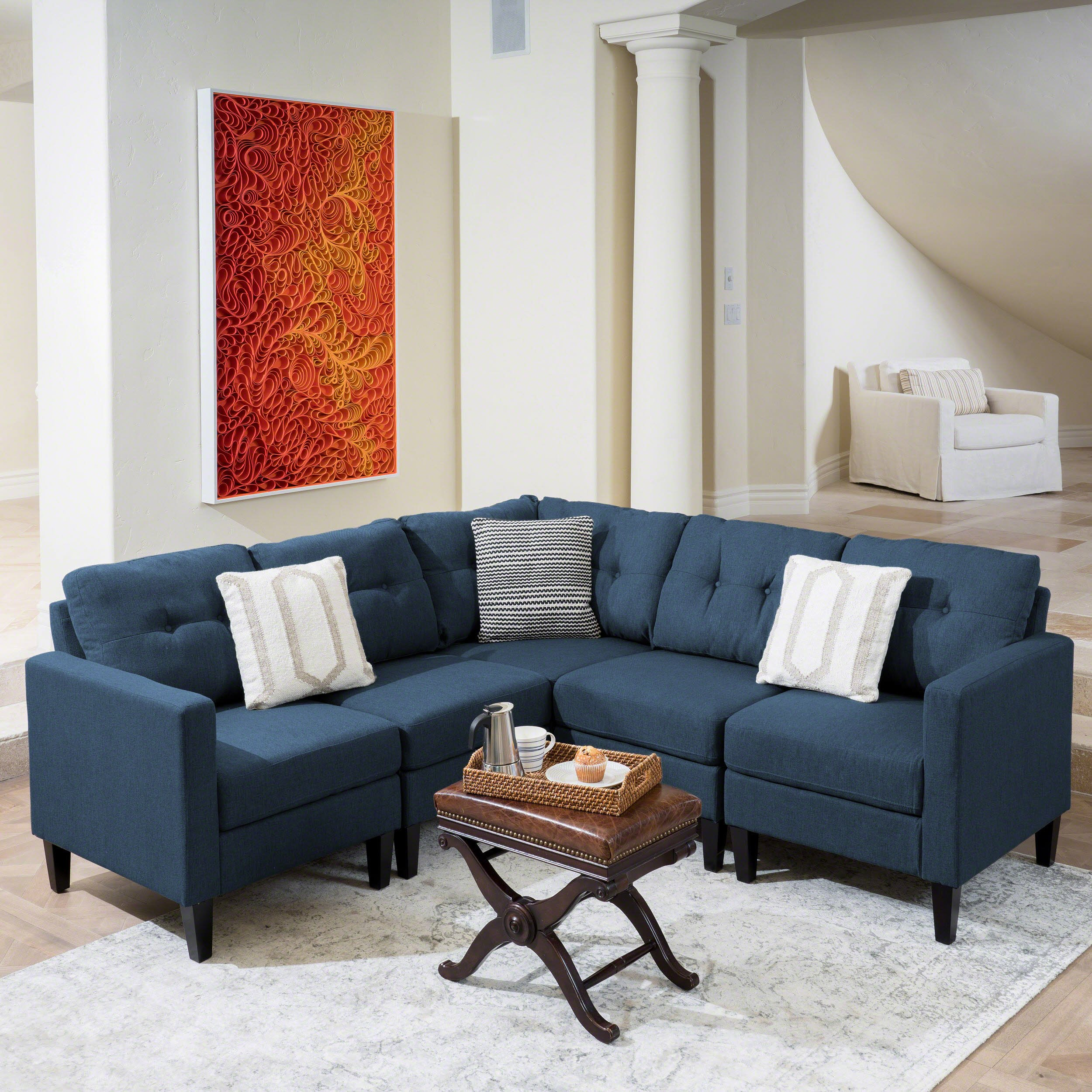 Emma Mid Century Modern 5 Piece Navy Blue Fabric Sectional Sofa by Christopher Knight Home