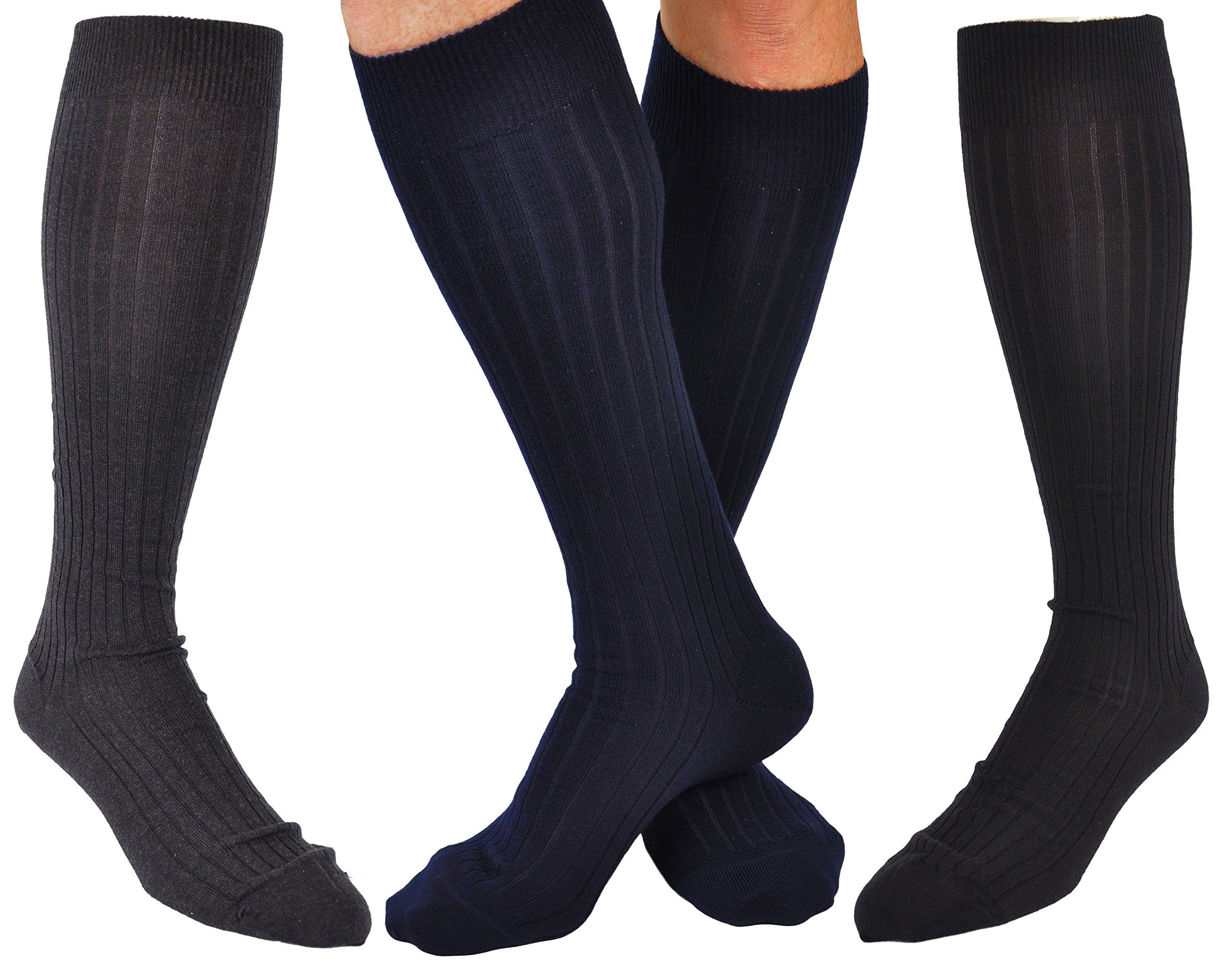 12 Pairs Men's ExtraFine Merino Marcoliani O.T.C. Italian Dress Socks: 4 Navy, 4 Black, 4 Charcoal