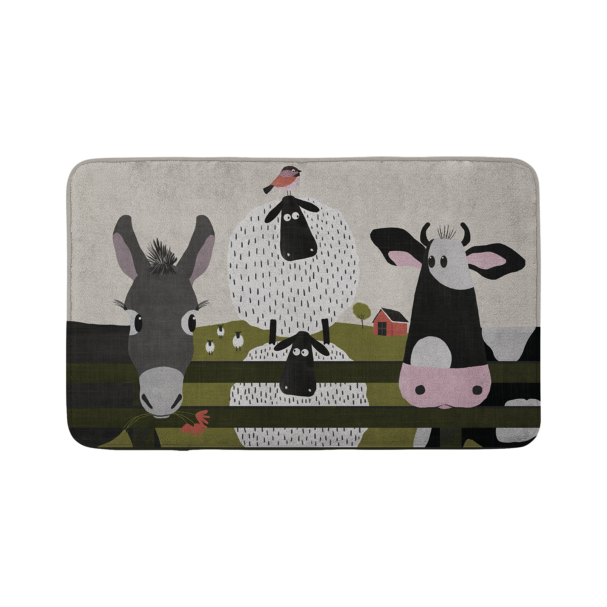 Mouse + Magpie On the Farm Farm Animals Cow Sheep Donkey Bath Mat, Skid-Proof, Memory Foam, Soft, Quick-Dry Microfiber, 31''x19'' for Toddler, Kid, Child Bathroom