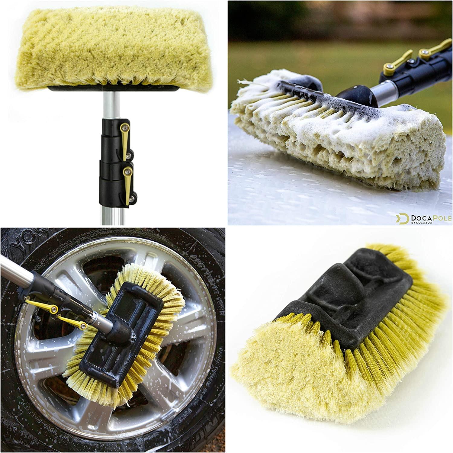 DocaPole 12 Foot High Reach Brush Kit with 5-12 Foot Extension Pole //// Brush Kit Includes 3 Brushes //// Soft Bristle Car Wash Brush //// Medium Bristle Cleaning Brush //// Hard Bristle Deck Brush