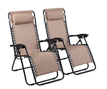 Outstanding Naomi Home Zero Gravity Lounge Patio Outdoor Recliner Chairs Cream Set Of 2 Creativecarmelina Interior Chair Design Creativecarmelinacom
