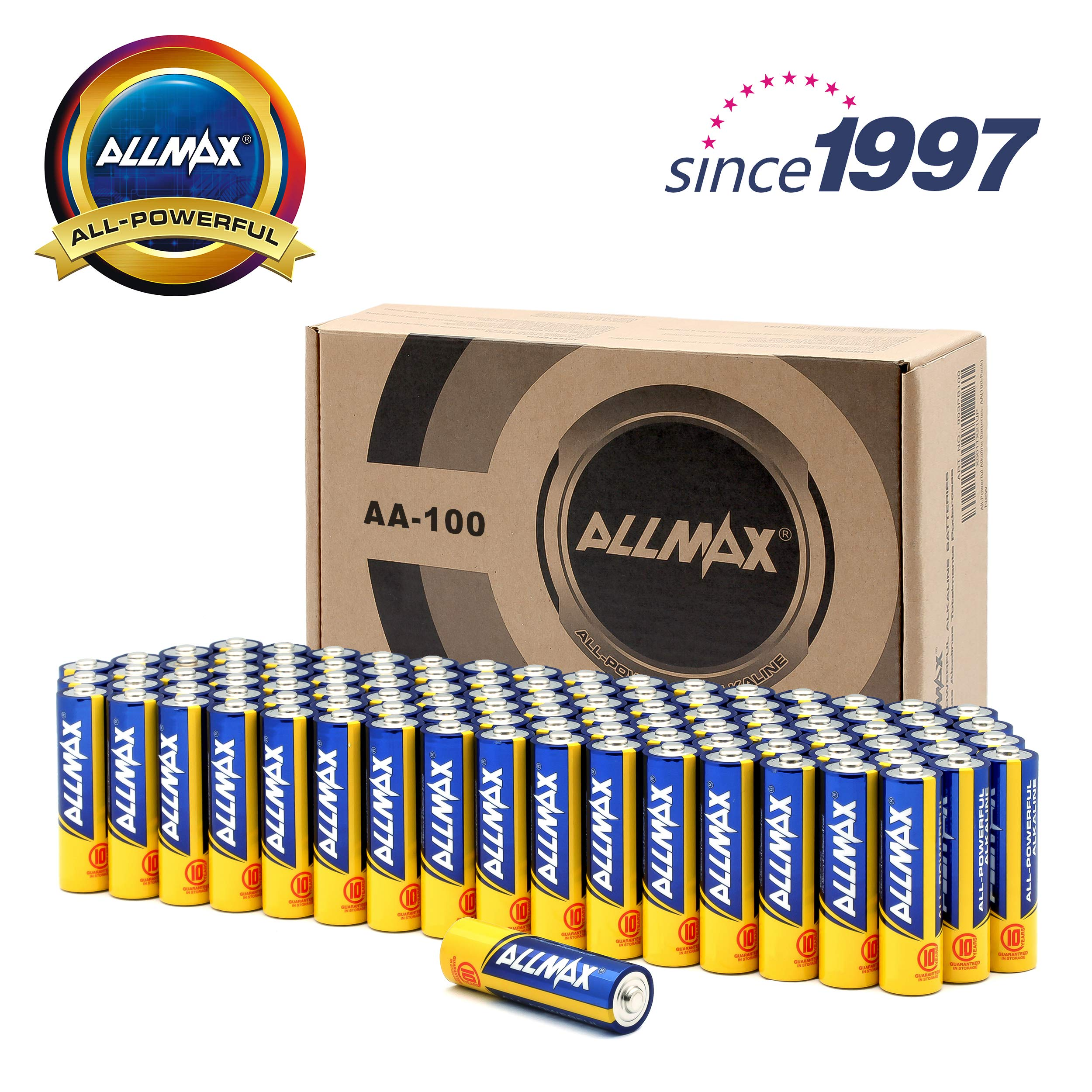 ALLMAX All-Powerful Alkaline Batteries - AA (100-Pack) - Ultra Long Lasting and Leak-Proof, All-Purpose for Household and Business by ALLMAX (Image #6)