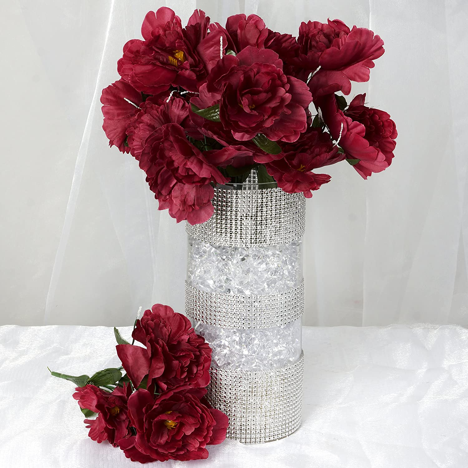 Amazon.com: BalsaCircle 60 Burgundy Silk Peony Flowers - 12 bushes ...