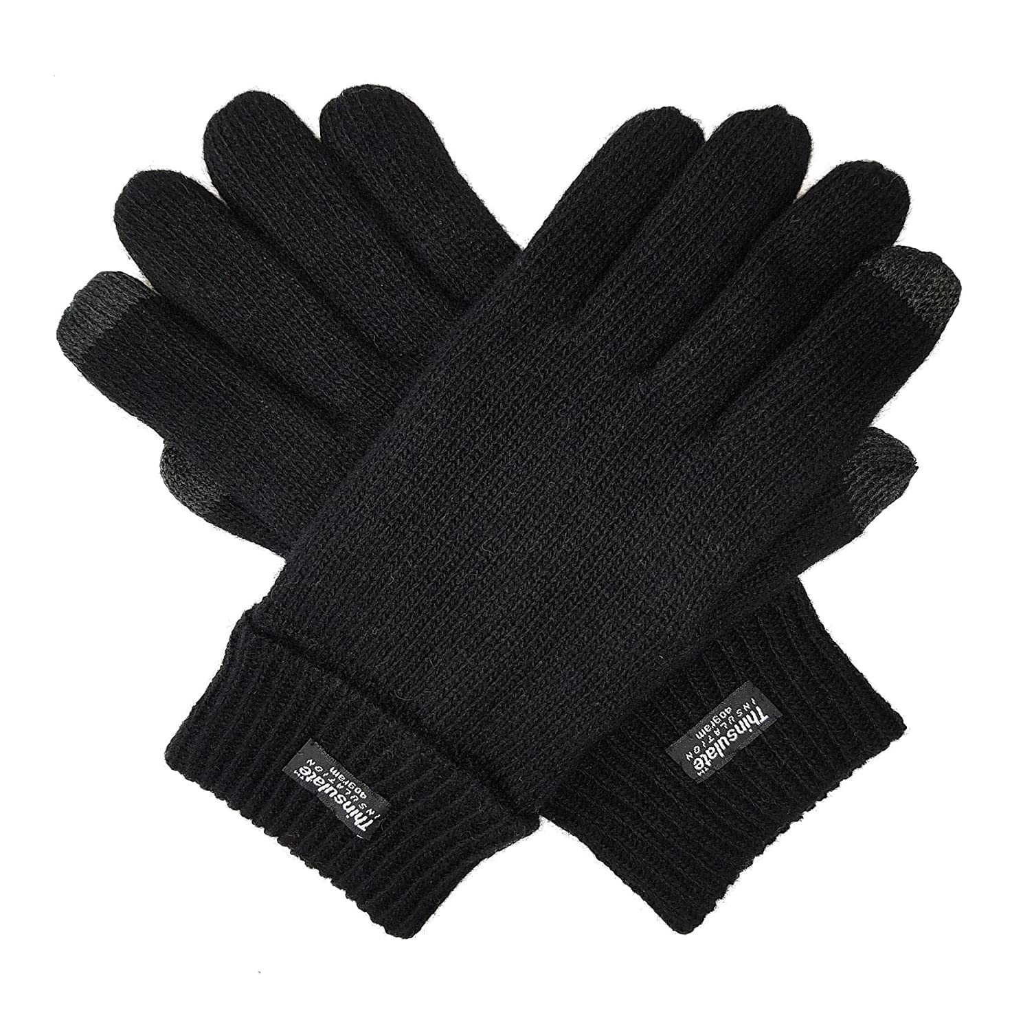 Bruceriver Men's Pure Wool Knitted Gloves with Thinsulate Lining Size S/M (Anthra) HESHI BR16G115-Anthra Size S/M