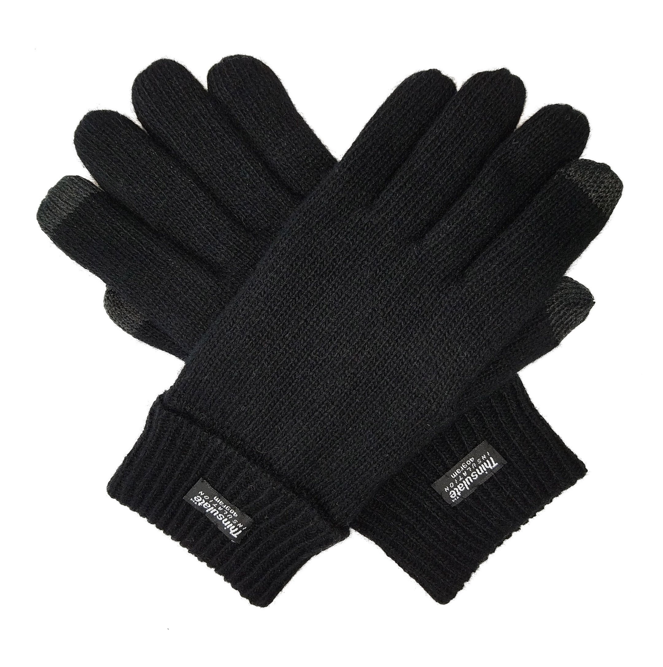 Bruceriver Men's Pure Wool Knitted Touchscreen Gloves with Thinsulate Lining Size L/XL (Black Touchscreen)