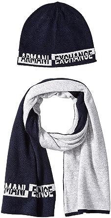 64a828c6c555 Armani Exchange Herren Mütze, Schal   Handschuh-Set Knitwear, 2er Pack, Blau