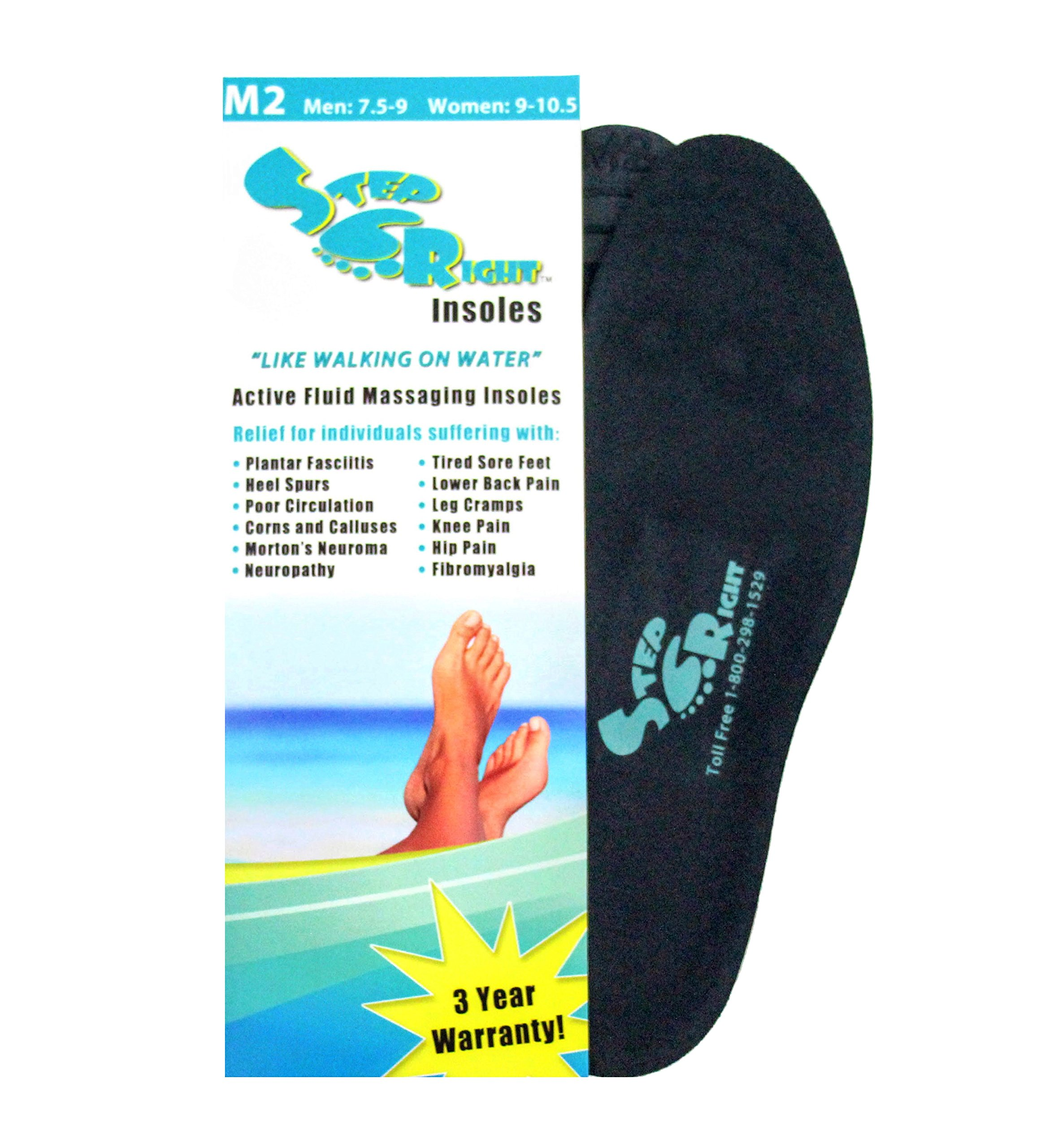 Step Right Insoles Relieves -Plantar Fasciitis- Neuropathy- Poor Circulation- Foot Pain and Heel Spurs (M2 Womens 9-10.5 : Mens 7.5-9) by Step Right