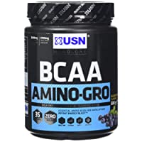 USN BCAA Amino Gro Intra Workout Amino Acid Recovery Drink, Blueberry, 300 g