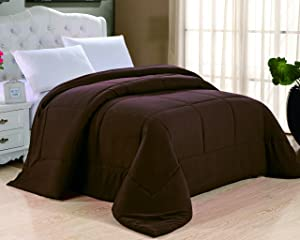 Cathay Home Double Fill Down Alternative Comforter, Queen, Chocolate