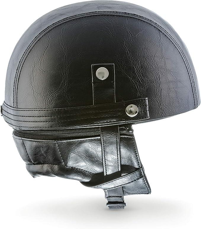 "MOTOHelmets D22 /""Titan Gray/"" /· Brain-Cap /· Halbschale Jet-Helm Motorrad-Helm Bobber /· Fiberglas Schnellverschluss SlimShell Tasche XXL 63-64cm"