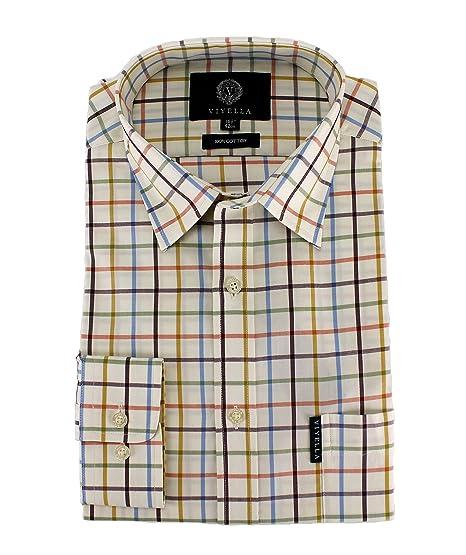 ef92c5ff5c Viyella Mens Multi Coloured Tattersall Check Cotton Shirt  Amazon.co.uk   Clothing