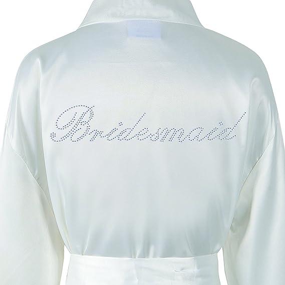 Varsany - Bata de baño para dama de boda, personalizada, de forro polar y satén con pedredía, kimono, bata de baño personalizada blanco crema: Amazon.es: ...